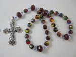 Multi-colored Czech Glass and Red Velvet Crystal Prayer Beads