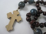 Blue Porcelain and Wood Prayer Beads