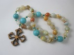 Orange and Teal Fire Agate Prayer Beads