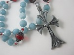 Blue Agate and Red Artisan Glass Prayer Beads